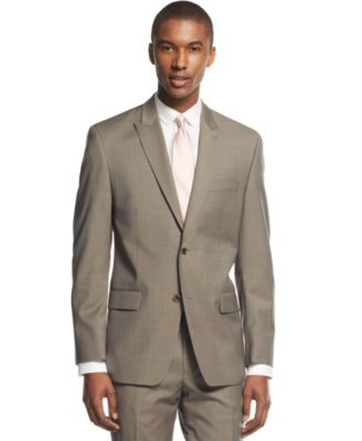 MICHAEL Michael Kors Light Brown Solid Peak-Lapel Classic-Fit Suit ...