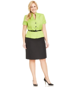 Tahari Asl Plus Size Belted Skirt Suit