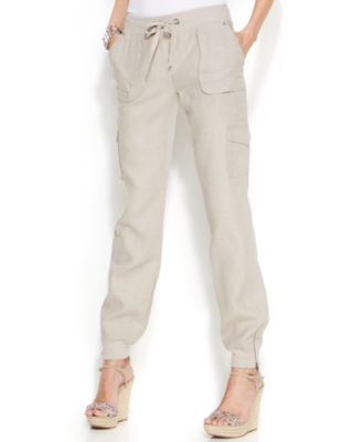 INC International Concepts Linen Drawstring-Waist Cargo Pants ...