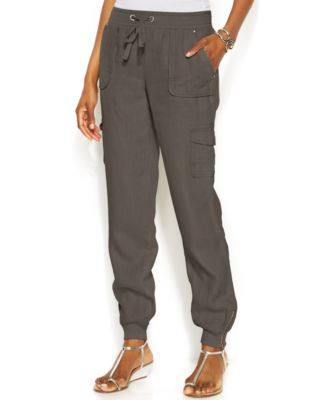 INC International Concepts Curvy-Fit Linen Drawstring-Waist Cargo ...