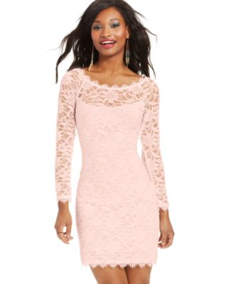 Jump Juniors' Cap-Sleeve Lace Sheath Dress - Dresses - Juniors ...