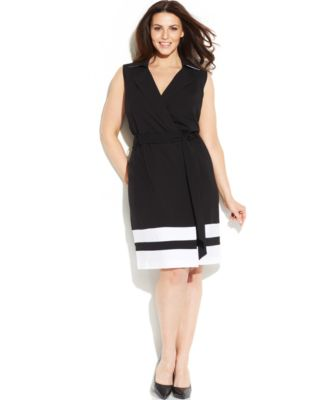 Calvin Klein Plus Size Stripe-Hem Wrap Dress - Dresses - Women ...