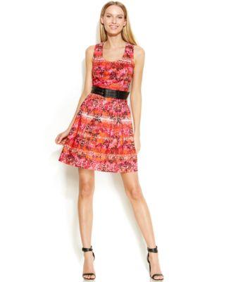 Calvin Klein Pointelle Knit Belted Dress Dresses Women
