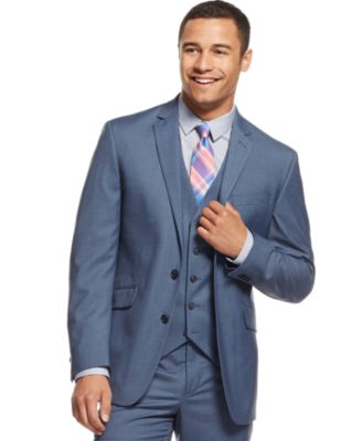 Kenneth Cole Reaction Light Blue Slim-Fit Vested Suit - Suits ...