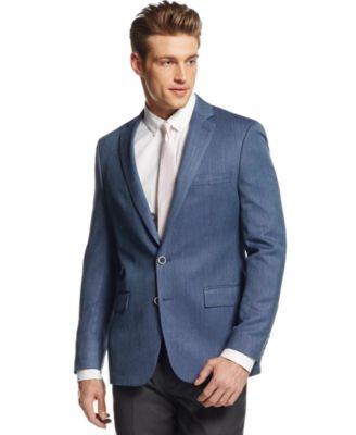 Ryan Seacrest Distinction Tan Hopsack Slim-Fit Sport Coat