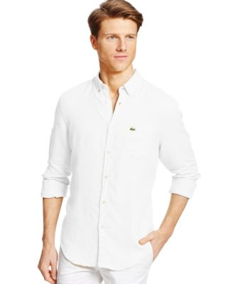 Lacoste Long-Sleeve Linen Button Down Shirt - Casual Button-Down ...
