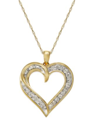 Diamond heart pendant necklace in 14k gold 14 ct tw diamond heart pendant necklace in 14k gold 14 ct tw mozeypictures Choice Image
