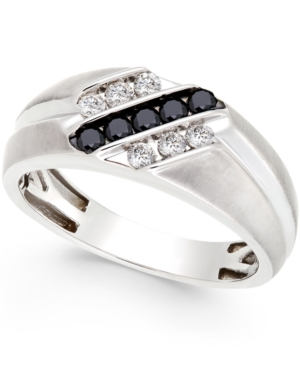 Men's Black and White Diamond Ring in Sterling Silver (1/2 ct. t.w.)
