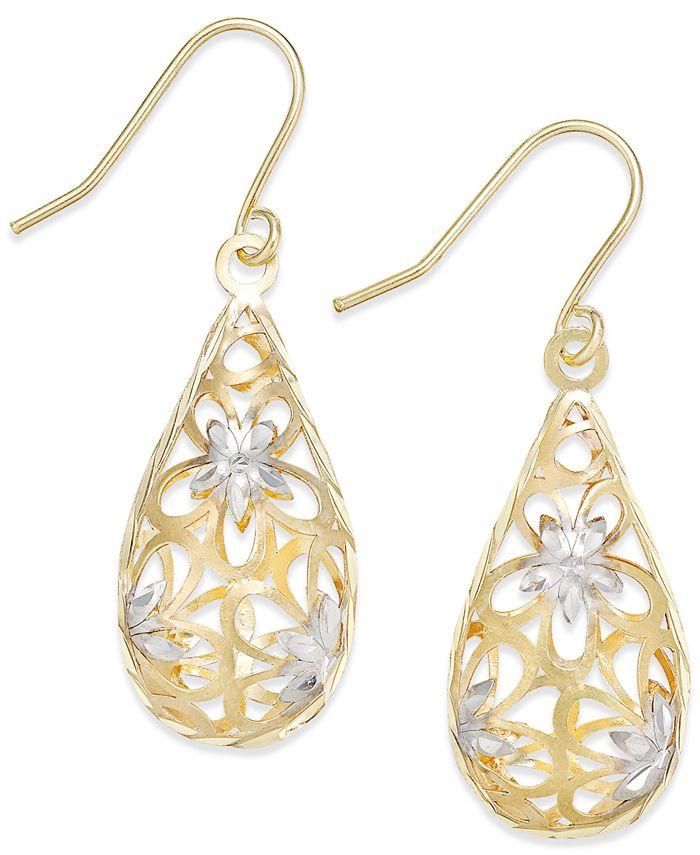 Macy's - Two-Tone Floral Teardrop Drop Earrings in 10K Gold