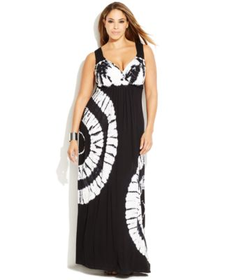 INC International Concepts Plus Size Tie-Dyed Maxi Dress - Dresses ...