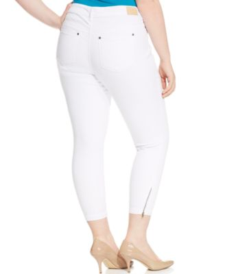 Rocks &amp Indigo Plus Size Ankle-Zip Jeans White Wash - Jeans