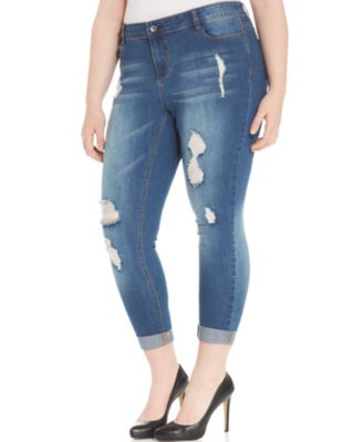 Junarose Plus Size Distressed Skinny Jeans, Medium Grey Wash ...
