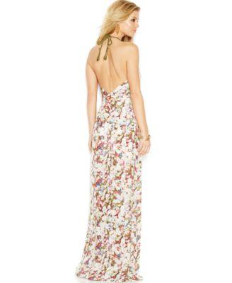 GUESS Floral Halter Maxi Dress - Dresses - Women - Macy's