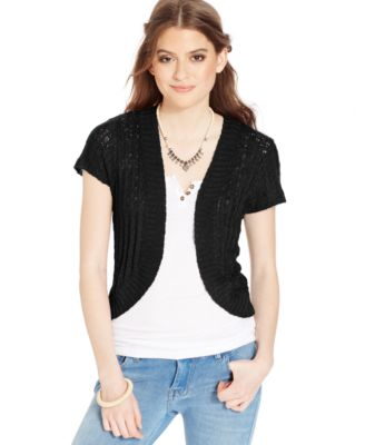 American Rag Short-Sleeve Sweater Shrug - Sweaters - Juniors - Macy's