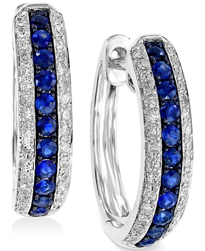 EFFY Collection - Sapphire (1/3 ct. t.w.) and Diamond (1/4 ct. t.w.) Hoop Earrings in 14k White Gold