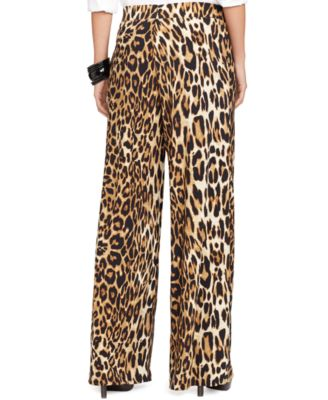 Lauren Ralph Lauren Petite Leopard-Print Wide-Leg Pants - Pants ...