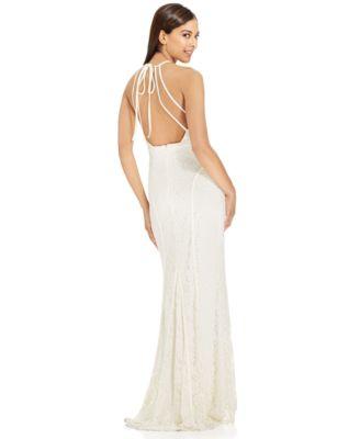 Xscape Satin-Trim Lace Halter Gown - Dresses - Women - Macy\'s