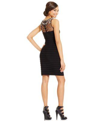 Patra Bodycon Dress With Beaded Illusion Neckline