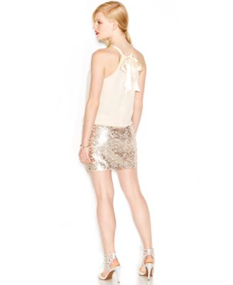 Jessica Simpson Sequin Chiffon Blouson Dress - Dresses - Women ...