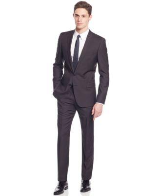 HUGO by Hugo Boss Black Plaid Slim-Fit Suit - Suits & Suit ...