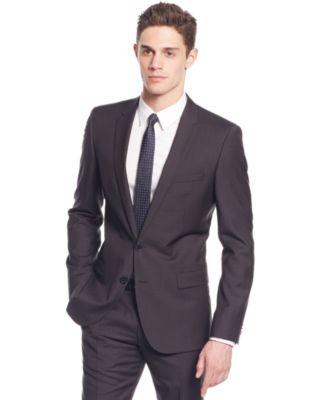HUGO by Hugo Boss Black Plaid Slim-Fit Suit - Suits & Suit