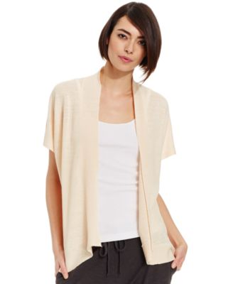 Eileen Fisher Short-Sleeve Open Cardigan - Sweaters - Women - Macy's