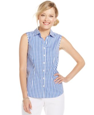 Karen Scott Bird Blossom Sleeveless Button-Down Shirt - Tops ...