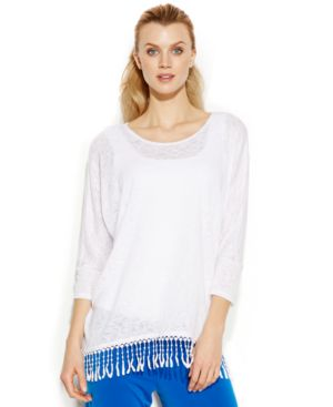 Alfani Three-Quarter-Sleeve Fringe-Hem Top