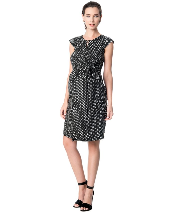 A Pea in the Pod - Maternity Printed Faux-Wrap Dress