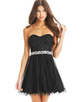 lace a line strapless dress