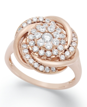 Wrapped in Love Diamond Ring, 14k Rose Gold Diamond Pave Knot Ring (3/4 ct. t.w.)