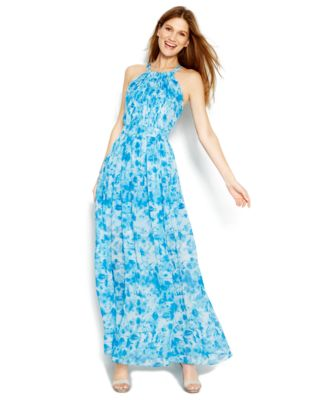 Calvin Klein Printed Halter Maxi Dress