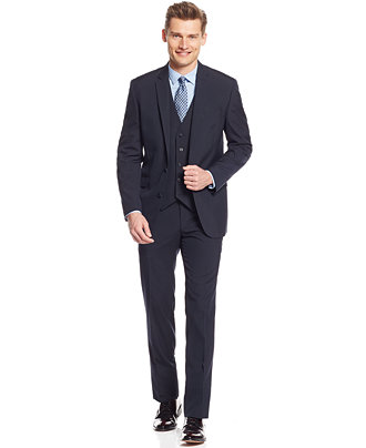 Kenneth Cole Navy Pinstriped Vested Slim-Fit Suit