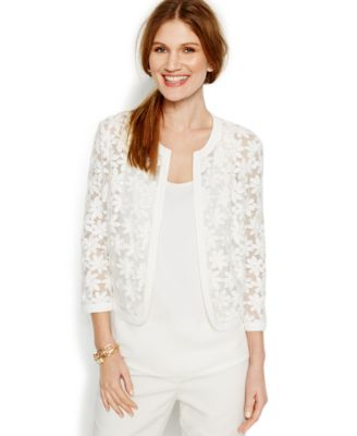 Anne Klein Woven Floral Lace Cardigan Jacket - Sweaters - Women ...