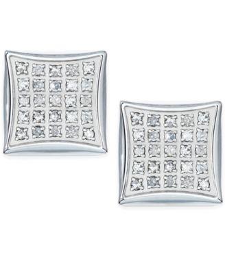 Macy S Men Diamond Earrings In Stainless Steel 1 4 Ct T W Jewelry Watches