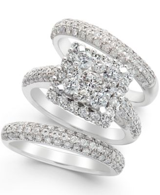 diamond bridal set in 14k white gold 2 23 ct tw - Macy Wedding Rings