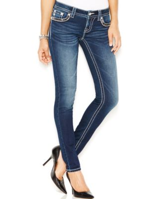Miss Me Faded Stud Skinny Jeans, Dark Wash - Jeans - Women - Macy's