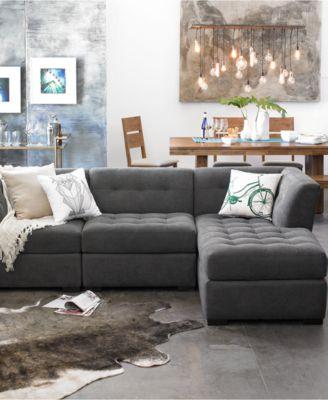 roxanne fabric 3piece modular sectional sofa corner armless chair u0026 chaise custom colors
