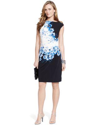 Lauren Ralph Pee Fl Print Sheath Dress