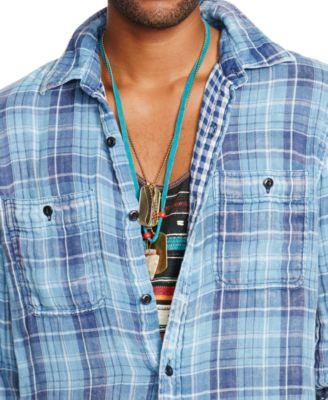 denim supply ralph lauren indigo plaid ward sport shirt - Ralph Lauren Indigo