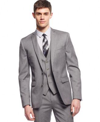 Bar Iii Light Grey Extra Slim Fit Jacket