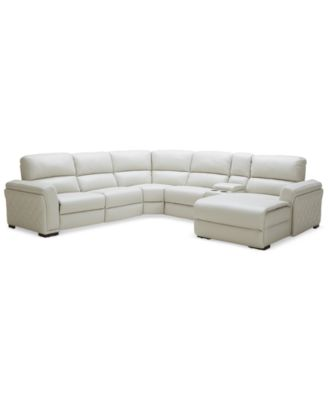 Awesome Jessi Quilted Side Leather 6 Piece Sectional With Chaise U0026 Power Recliner