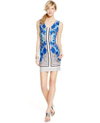 Inc international concepts dress sleeveless exotic-print v-neck maxi