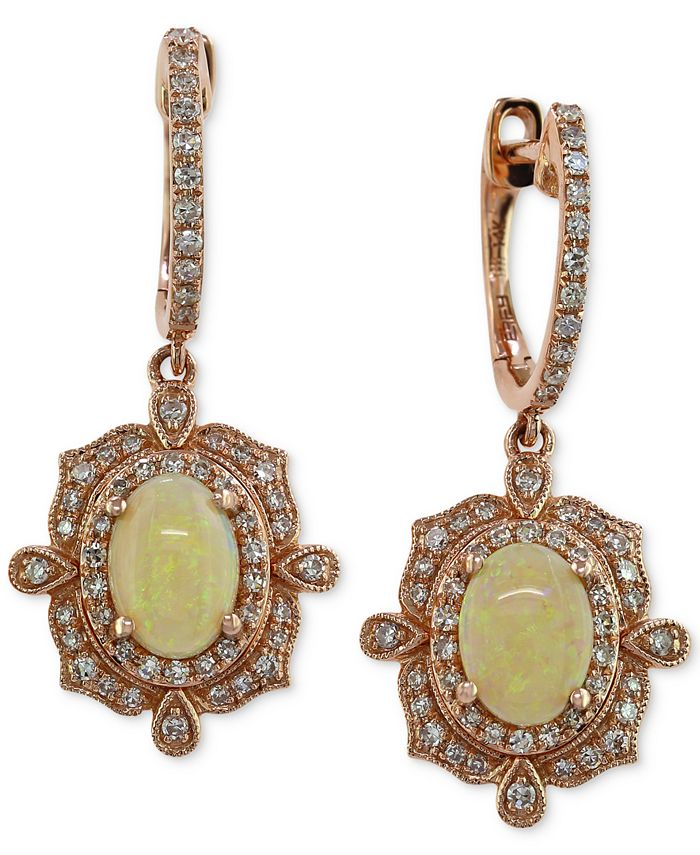 EFFY Collection - Opal (9/10 ct. t.w.) and Diamond (3/8 ct. t.w.) Drop Earrings in 14k Rose Gold