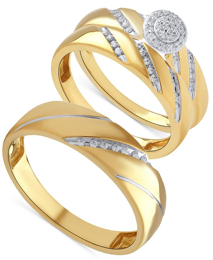 Macy's - Beautiful Beginnings Diamond Halo Ring Set for Her and Band for Him in 14k Gold
