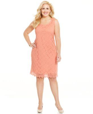 Spense Plus Size Sleeveless Pleated Eyelet-Hem Dress - Dresses ...