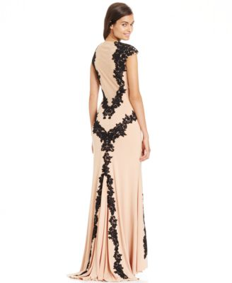 Betsy &amp- Adam Lace-Overlay Keyhole Gown - Dresses - Women - Macy&-39-s