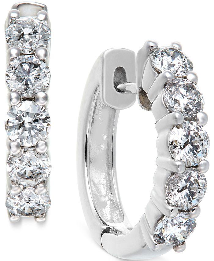 Macy's - Diamond Hoop Earrings in 14k White Gold (1-1/2 ct. t.w.)