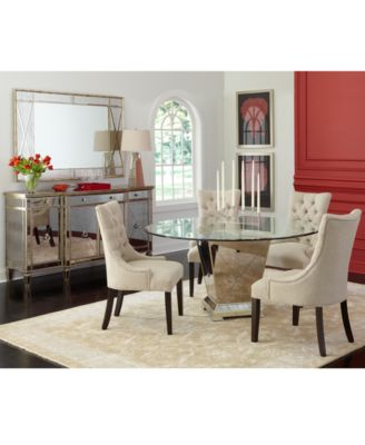 Marais Dining Room Furniture 5 Piece Set 60 Mirrored Dining Table And 4 Chairs Furniture