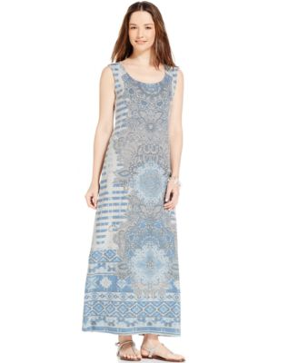 Vince Camuto Tribal-Print Sleeveless Maxi Dress - Dresses - Women ...